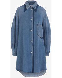MM6 by Maison Martin Margiela Oversized Denim Shirt Dress - Blue