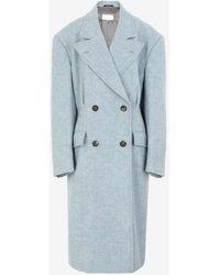 Maison Margiela オーバーサイズ ウール コート - ブルー