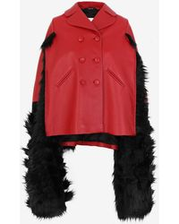 Maison Margiela Faux Fur Trimmed Leather Cape - Red