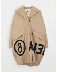 MM6 by Maison Martin Margiela Logo-print Cocoon Coat - Natural