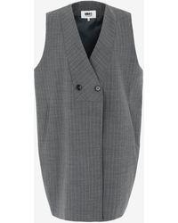 Maison Margiela Pinstripe Sleeveless Jacket - Grey