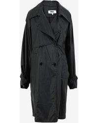 Maison Margiela フェイクレザー トレンチ コート - ブラック