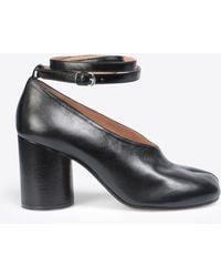 Maison Margiela Black Leather Strapped Tabi Heels