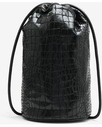 Maison Margiela フェイク クロコダイル バケツ型バックパック - ブラック