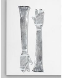 MM6 by Maison Martin Margiela - Silver Coated Ribbed Knit Long Gloves - Lyst