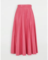 MM6 by Maison Martin Margiela Glossy-effect Pleated Midi Skirt - Pink