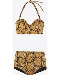 Maison Margiela Jacquard Flower Two-piece Swimsuit - Natural
