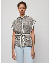 Maje Tweed-style Sleeveless Jacket - Grey