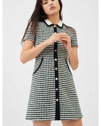 Maje Robe Façon Tweed Contrastée - Multicolore