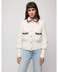 Maje Blouson Façon Tweed Contrasté - Neutre