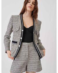 Maje Veste Façon Tweed Chinée Et Contrastée - Noir