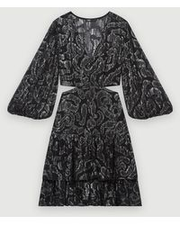 Maje Robe En Jacquard Lamé - Noir