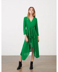 Maje Robe En Jacquard Satin Imprimé - Vert