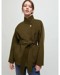 Maje Double-faced Jacket With Belt - Multicolour