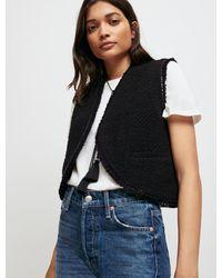 Maje Tweed-style Sleeveless Jacket - Black
