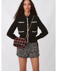 Maje Blouson Façon Tweed Contrasté - Noir