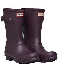 HUNTER Original Short Wellington Boots Black Grape - Purple