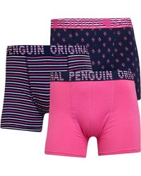 Original Penguin Aop Pete Stripe Three Pack Trunks Navy/white/pink - Blue