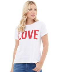 ONLY - Riva Love Printed T-shirt Bright White/high Risk Red - Lyst