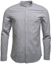 Farah - Chramer Slim Fit Long Sleeve Grandad Shirt Balsam - Lyst