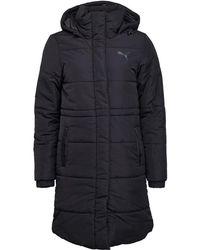 PUMA - Essentials Long Padded Coat Black - Lyst