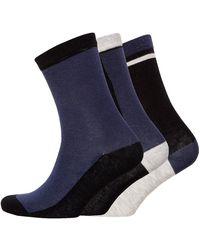 Jaeger Three Pack Block Socks Indigo Black Grey