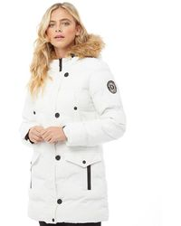 Brave Soul Long Padded Bubble Jacket With Hood White