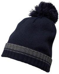 a76978cb3 Plain Knit Beanie Charcoal Melange/marine Blue