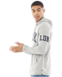 French Connection Fcuk Ldn Hooded Long Sleeve Top Light Grey Marl/marine