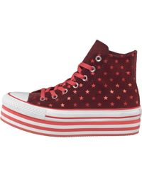 Converse - Ct All Star Hi Platform Polka Dots Trainers Andorra/pink/white - Lyst