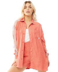 adidas Originals 3-stripes Satin Button-up Shirt Trace Scarlet - Pink