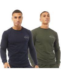 883 Police Hayes Two Pack Crew Sweatshirts Navy/khaki - Blue