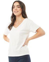 Brave Soul Sonny V Neck T-shirt White
