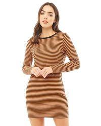 Brave Soul Cilli Midi Striped Dress Black/stone/black
