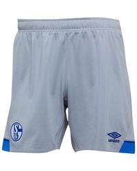 Umbro S04 FC Schalke Auswärtsspiel Fußball Shorts Hellgrau - Blau