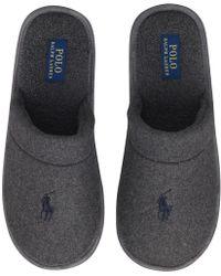 Ralph Lauren Sunday Scuff Slippers Grey Wool - Gray