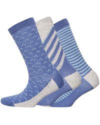 Jaeger Three Pack Sloping Stripe Socks Navy Grey - Blue