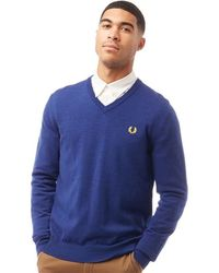 Fred Perry Classic Merino V Neck Jumper Medieval Blue Marl