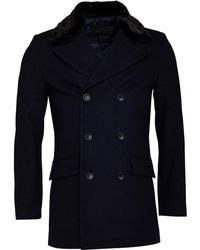 French Connection - Double Breasted Fur Lined Coat Marine - Lyst