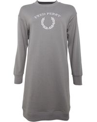 Fred Perry Embroidered Sweatshirt Dress Storm - Grey