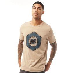 Jack & Jones Logo Universe T-Shirt Sandfarbe - Mehrfarbig