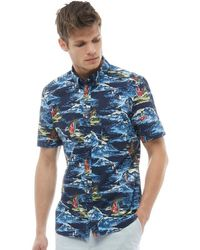 French Connection - Surf Print Short Sleeve Shirt Surf Marine - Lyst