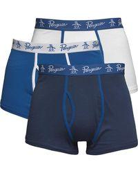 Original Penguin Three Pack Boxers Dark Denim/white/snorkel Blue