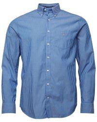GANT - Broadcloth Pinstripe Reg Fit Shirt Nautical Blue - Lyst