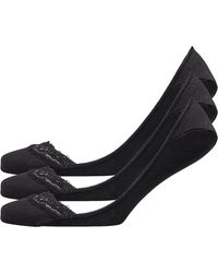 Jaeger Three Pack Low Cut Footsies Lace Trimmed Black
