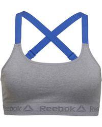 Reebok - Tecia Seamless Performance Sports Bra Top Grey Marl crushed Cobalt  - Lyst df609992e