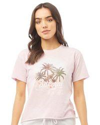 Brave Soul Tee-Shirt Nina Acid Wash California Lilas Pâle - Violet