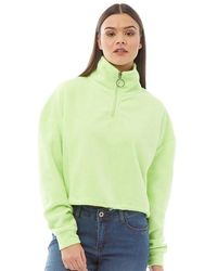 Brave Soul Maryam Mid Zip Crop Fleece Sweatshirt Neon Lime - Green