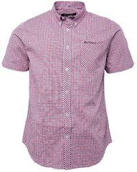Ben Sherman House Check Short Sleeve Shirt Red - Multicolour