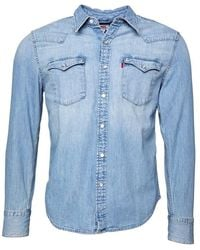 Levi's Barstow Western Overhemd Met Lange Mouwen Lichtblauw